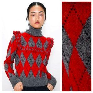 New ZARA Argyle Sweater Ruffles